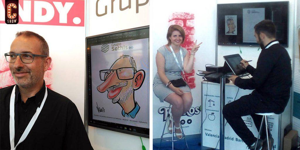 Caricaturista digital en directo en evento en Barcelona
