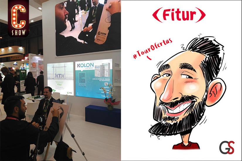 Caricaturista en directo en stand en feria Fitur en Madrid