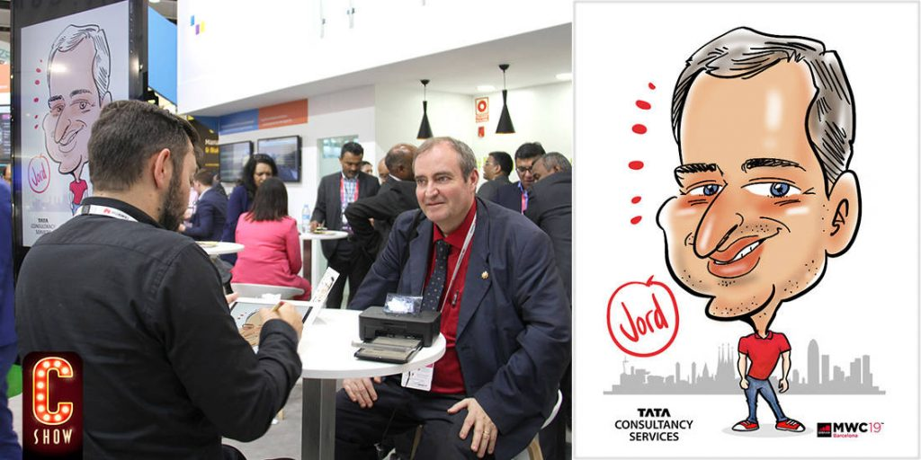 Caricaturista en Mobile World Congress de Barcelona