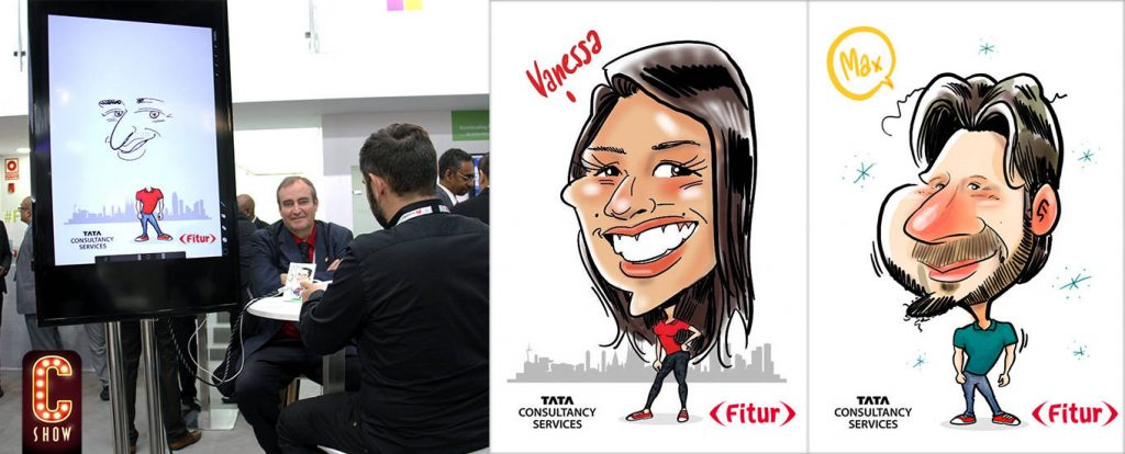 Caricaturista en vivo en feria internacional de turismo Fitur de Madrid