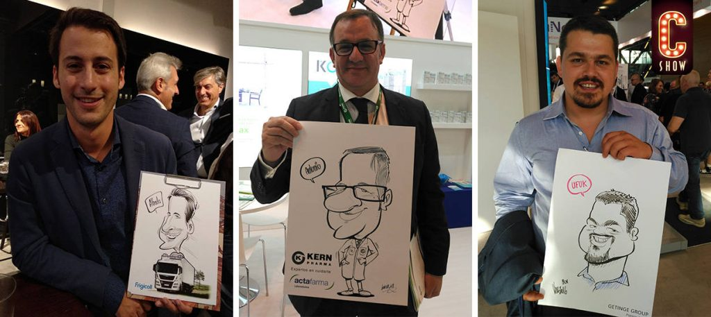Marketing face to face en Madrid con caricaturas