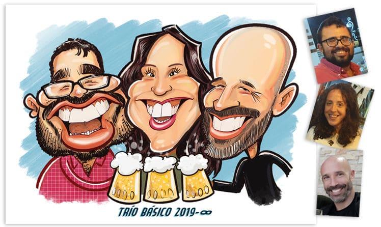caricatura personalizada en color de personas